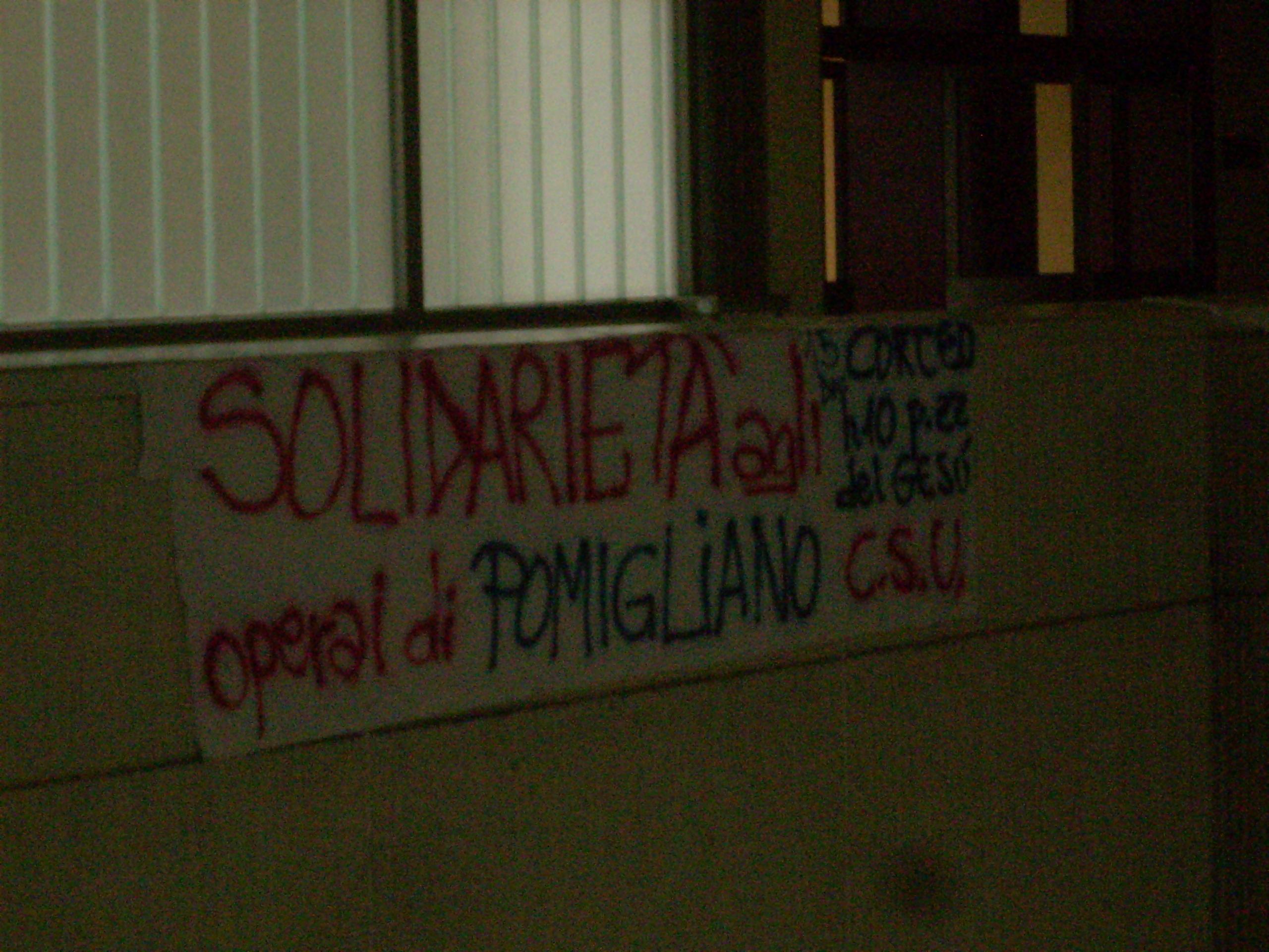 Solidarietà agli operai Fiat dall'Uni di Salerno