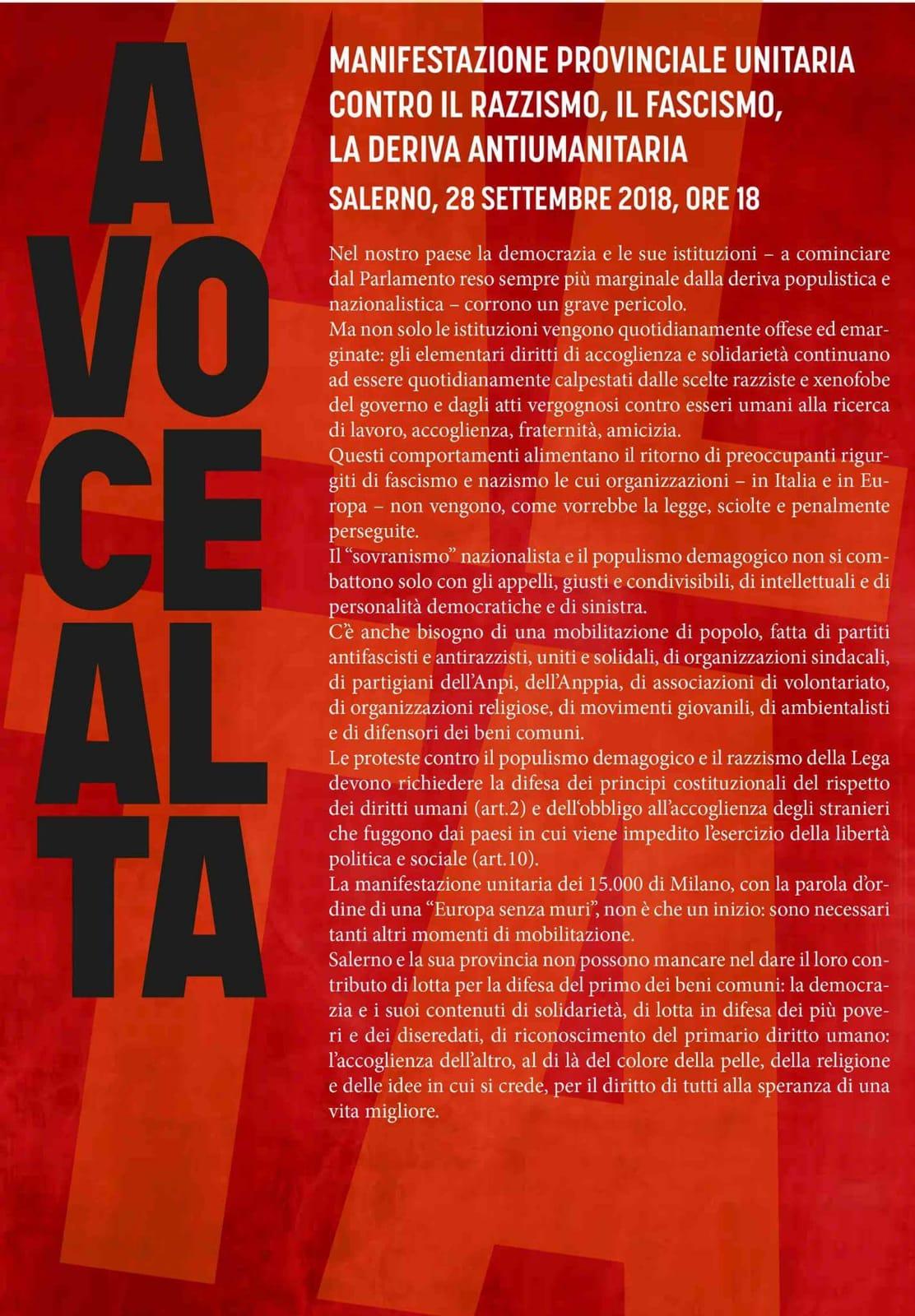 28 settembre manifestazione Antirazzista a Salerno