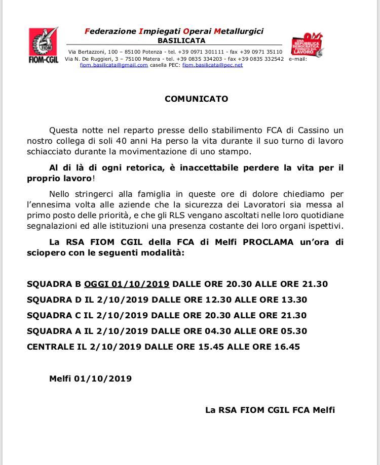 Comunicato Fiom CGL per la morte sul lavoro nello stabilimento FIAT di Cassino