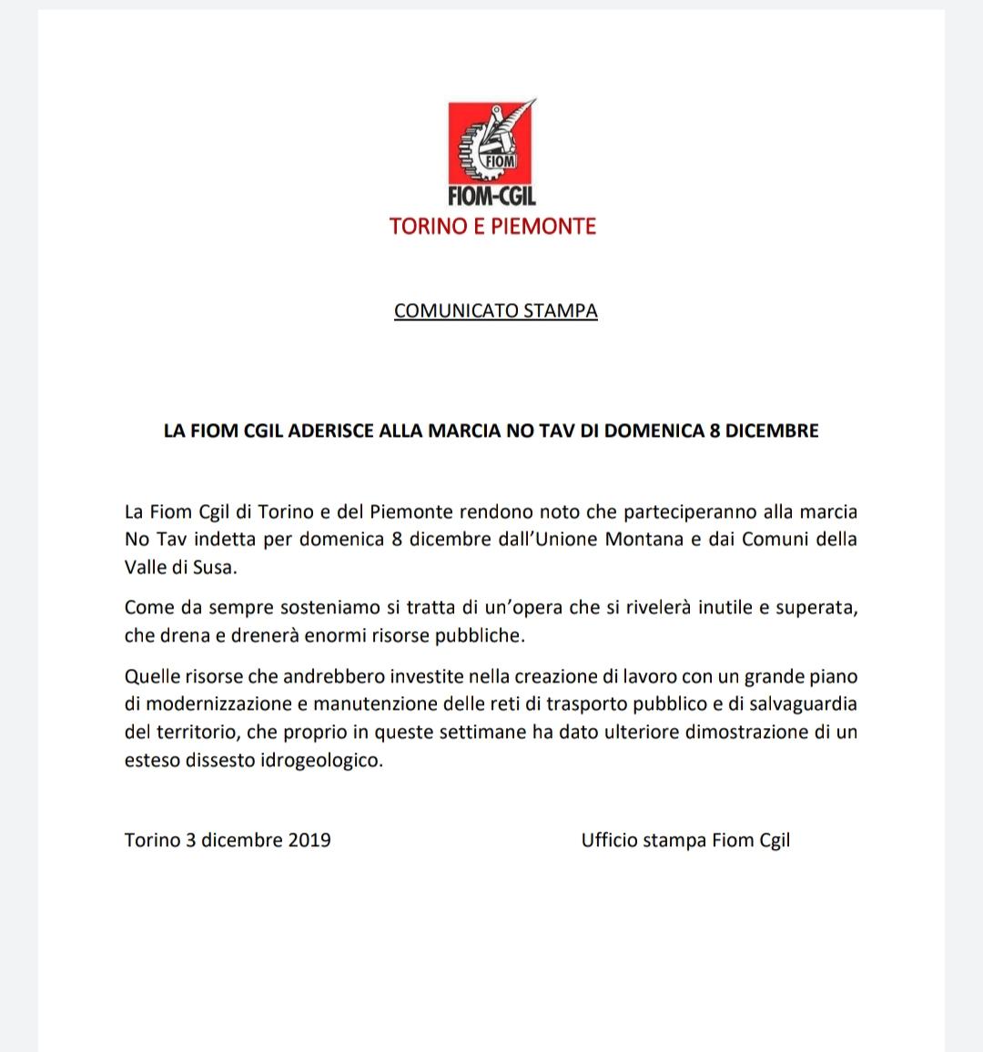 La FIOM CGIL aderisce alla marcia NO TAV di domenica 8 dicembre